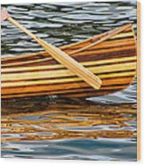 Canoe Lines And Reflections Wood Print