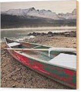 Canoe On Misty Fall Morning, Maligne Wood Print