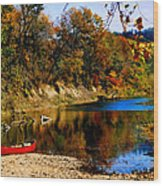 Canoe On The Gasconade River Wood Print