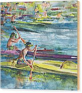 Canoe Race In Polynesia Wood Print
