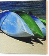 Canoe Shadows Wood Print by Karen Wiles