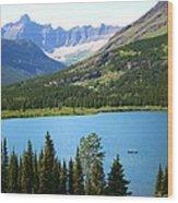 Canoeing At Glacier Wood Print