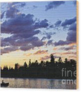 Canoeing At Sunset Wood Print by Elena Elisseeva