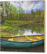 Canoeing At The Lake Wood Print
