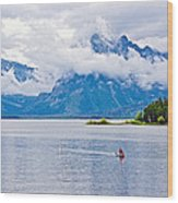 Canoeing In Colter Bay In Grand Teton National Park-wyoming Wood Print