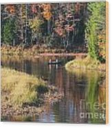Canoeing In The Fall Wood Print
