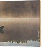 Canoeist On A Golden Misty Morning Wood Print