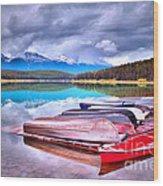 Canoes At Lake Patricia Wood Print