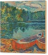 Canoes At Mountain Lake Wood Print