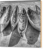Canoes In Black And White Wood Print