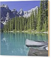 Canoes In Moraine Lake And Valley Of Wood Print