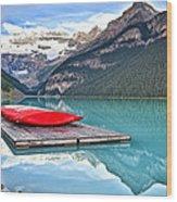 Canoes Of Lake Louise Alberta Canada Wood Print