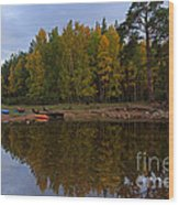 Canoes On The Shore At Loch An Eilein Wood Print