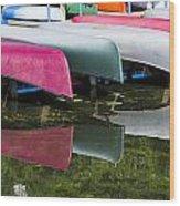 canoes - Lake Wingra - Madison  Wood Print