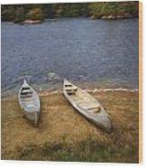 Canoes Waiting Wood Print