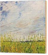 Canola Field In Abstract Wood Print