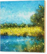 Canola Fields Impressionist Landscape Painting Wood Print