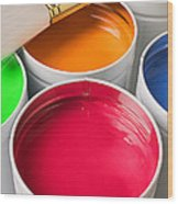 Cans Of Colored Paint Wood Print
