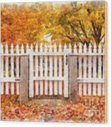 Canterbury Shaker Village Picket Fence  Wood Print