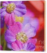 Canvas Flowers Wood Print