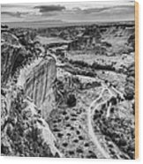 Canyon De Chelly Navajo Nation Chinle Arizona Black And White Wood Print