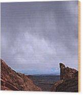Canyon Entrance Distant Storm Wood Print