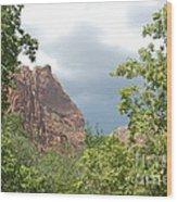 Canyon Wall Through The Trees Wood Print