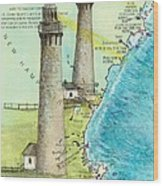 Cape Ann Twin Lighthouses Ma Nautical Chart Map Art Cathy Peek Wood Print