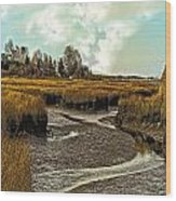 Cape Cod Americana - Low Tide In A Barnstable Village Marsh -  Wood Print