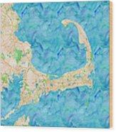 Cape Cod Watercolor Map Wood Print