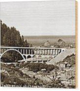 Cape Creek Bridge And Heceta Oregon Head Lighthouse  Circa1933 Wood Print