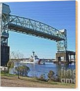 Cape Fear Draw Bridge  Wood Print