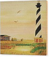 Cape Hatteras Light At Sunset Wood Print