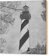 Cape Hatteras Light Black And White Wood Print
