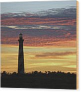 Cape Hatteras Lighthouse At Sunset Wood Print