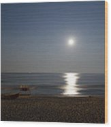 Cape May Beach In The Moonlight Wood Print