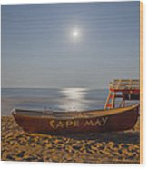 Cape May By Moonlight Wood Print