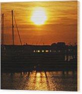Cape May Harbor At Sunrise Wood Print