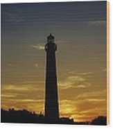 Cape May Lighthouse At Sunset Wood Print