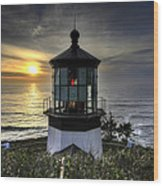 Cape Meares Lighthouse At Sunset Wood Print