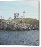Cape Neddick Light On A Misty Morning Wood Print