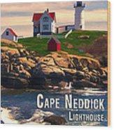 Cape Neddick Lighthouse  At Sunset  Wood Print