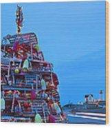 Cape Neddick Lighthouse Christmas Wood Print by Randy Duchaine