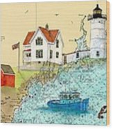 Cape Neddick Lighthouse Me Nautical Chart Map Art Cathy Peek Wood Print