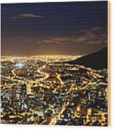 Cape Town, South Africa By Night Wood Print