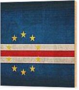 Cape Verde Flag Vintage Distressed Finish Wood Print