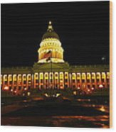 Capital Building In Utah Salt Lake City Wood Print