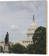 Capitol And Statue Washington Dc Wood Print