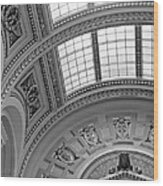 Capitol Architecture - Bw Wood Print