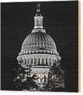 Capitol At Night Wood Print